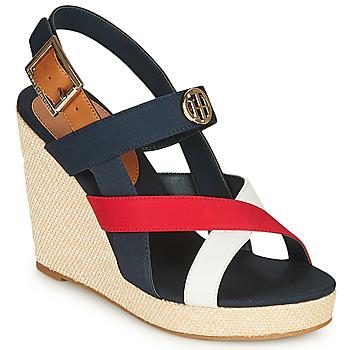 Čevlji  Ženske Sandali & Odprti čevlji Tommy Hilfiger BASIC HARDWARE HIGH WEDGE SANDAL Modra / Bela / Rdeča