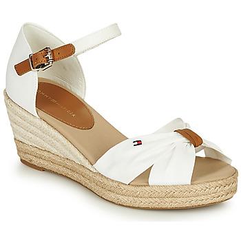 Čevlji  Ženske Sandali & Odprti čevlji Tommy Hilfiger BASIC OPENED TOE MID WEDGE Bela