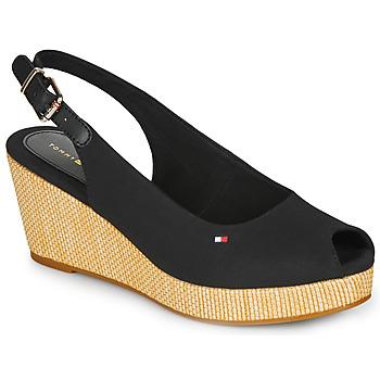 Čevlji  Ženske Sandali & Odprti čevlji Tommy Hilfiger ICONIC ELBA SLING BACK WEDGE Črna