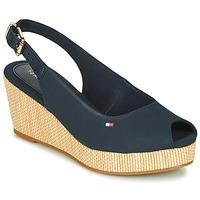 Čevlji  Ženske Sandali & Odprti čevlji Tommy Hilfiger ICONIC ELBA SLING BACK WEDGE Modra