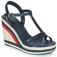 Čevlji  Ženske Sandali & Odprti čevlji Tommy Hilfiger TOMMY STRAPPY HIGH WEDGE Modra