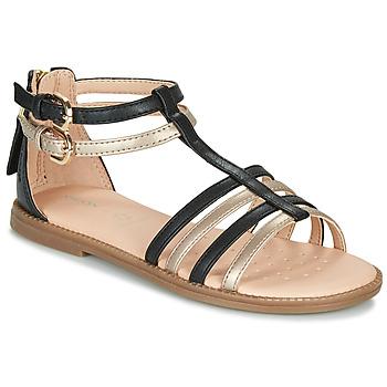 Čevlji  Deklice Sandali & Odprti čevlji Geox J SANDAL KARLY GIRL Črna / Pozlačena