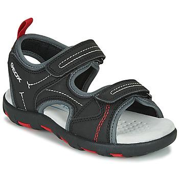 Čevlji  Dečki Športni sandali Geox JR SANDAL PIANETA Črna / Rdeča