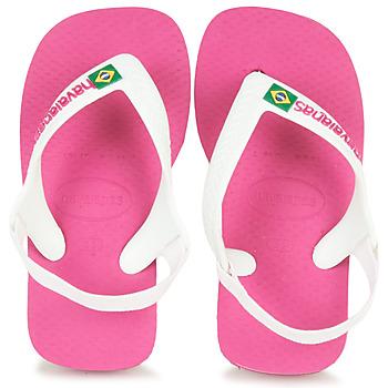 Čevlji  Deklice Japonke Havaianas BABY BRASIL LOGO II Pink / White