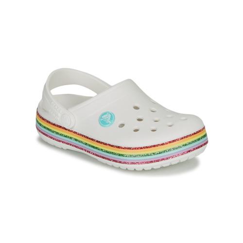 Čevlji  Deklice Cokli Crocs CROCBAND RAINBOW GLITTER CLG K Bela