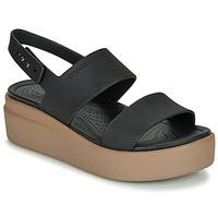 Čevlji  Ženske Sandali & Odprti čevlji Crocs CROCS BROOKLYN LOW WEDGE W Črna / Kamel