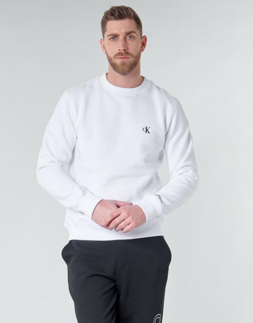 Oblačila Moški Puloverji Calvin Klein Jeans CK ESSENTIAL REG CN Bela