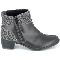 Čevlji  Ženske Gležnjarji Boissy Boots Noir Leopard Črna