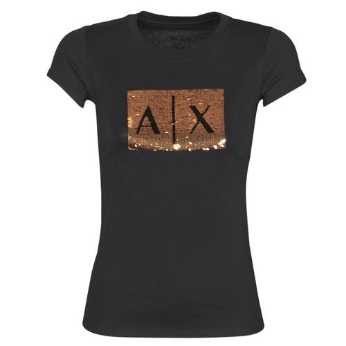 Oblačila Ženske Majice s kratkimi rokavi Armani Exchange HONEY Črna