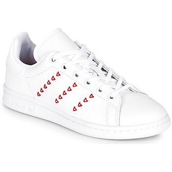 Čevlji  Deklice Nizke superge adidas Originals STAN SMITH J Bela / Rdeča / CŒur