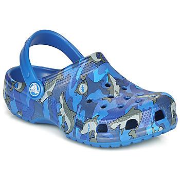 Čevlji  Dečki Cokli Crocs CLASSIC SHARK CLOG Modrá