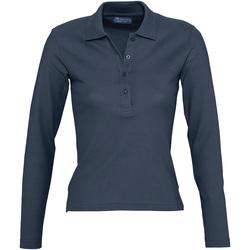 Oblačila Ženske Polo majice dolgi rokavi Sols PODIUM COLORS Azul