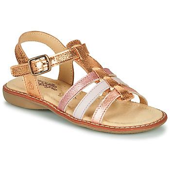 Čevlji  Deklice Sandali & Odprti čevlji Citrouille et Compagnie GROUFLA Pozlačena / Rožnata