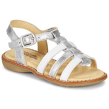 Čevlji  Deklice Sandali & Odprti čevlji Citrouille et Compagnie GROUFLA Srebrna / Bela