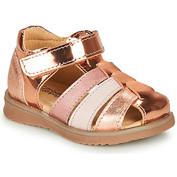 Čevlji  Deklice Sandali & Odprti čevlji Citrouille et Compagnie FRINOUI Bronze / Rožnata