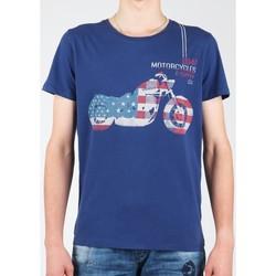 Oblačila Moški Majice s kratkimi rokavi Wrangler S/S Biker Flag Tee W7A53FK 1F navy
