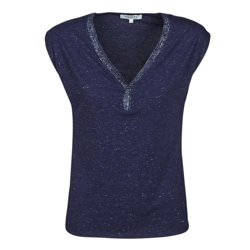 Oblačila Ženske Majice s kratkimi rokavi Morgan DMAYA Modra