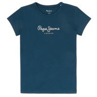 Oblačila Deklice Majice s kratkimi rokavi Pepe jeans HANA GLITTER Modra