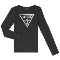 Oblačila Deklice Majice z dolgimi rokavi Guess GARICE Črna