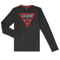 Oblačila Dečki Majice z dolgimi rokavi Guess HERVE Črna