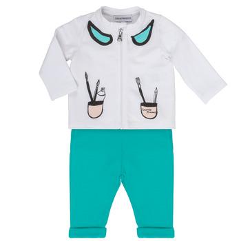 Oblačila Deklice Otroški kompleti Emporio Armani Aubin Bela / Modra