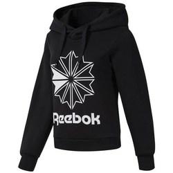 Oblačila Ženske Puloverji Reebok Sport CL FL Big Logo Hood Črna