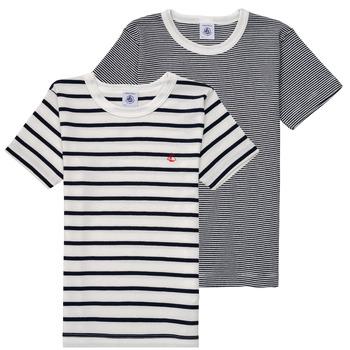 Oblačila Dečki Majice s kratkimi rokavi Petit Bateau 53333 Bela / Modra