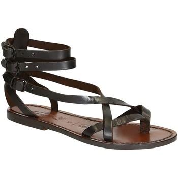 Čevlji  Ženske Sandali & Odprti čevlji Gianluca - L'artigiano Del Cuoio 564 D MORO CUOIO Testa di Moro