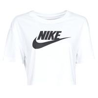 Oblačila Ženske Majice s kratkimi rokavi Nike W NSW TEE ESSNTL CRP ICN FTR Bela / Črna