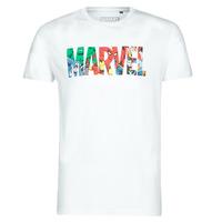 Oblačila Moški Majice s kratkimi rokavi Yurban MARVEL HERO LOGO Bela