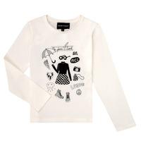 Oblačila Deklice Majice z dolgimi rokavi Emporio Armani 6H3T01-3J2IZ-0101 Bela