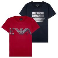 Oblačila Dečki Majice s kratkimi rokavi Emporio Armani 6H4D22-4J09Z-0353 Črna / Rdeča