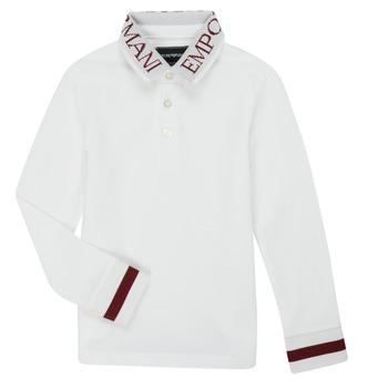 Oblačila Dečki Polo majice dolgi rokavi Emporio Armani 6H4FJ4-1J0SZ-0101 Bela