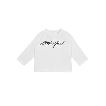 Oblačila Dečki Majice z dolgimi rokavi Emporio Armani 6HHTJN-1JTUZ-0101 Bela