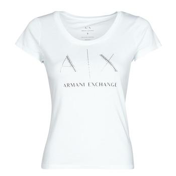 Oblačila Ženske Majice s kratkimi rokavi Armani Exchange 8NYT83 Bela