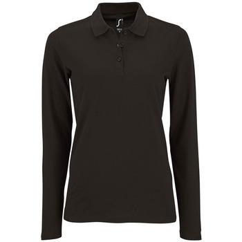 Oblačila Ženske Polo majice dolgi rokavi Sols PERFECT LSL COLORS WOMEN Negro