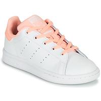 Čevlji  Deklice Nizke superge adidas Originals STAN SMITH C Bela / Rožnata