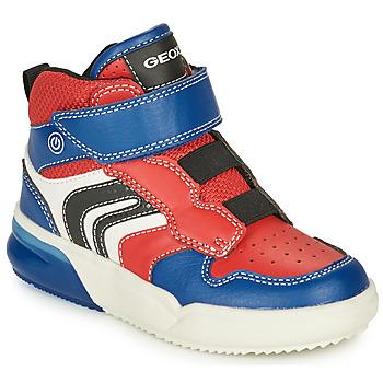 Čevlji  Dečki Visoke superge Geox GRAYJAY Rdeča / Modra