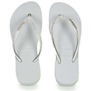 Čevlji  Ženske Japonke Havaianas Slim Flatform Glitter Srebrna