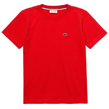 Oblačila Dečki Majice s kratkimi rokavi Lacoste TJ1442-F8M-J Rdeča