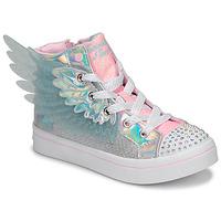 Čevlji  Deklice Visoke superge Skechers TWI-LITES 2.0 Srebrna / Rožnata / Led