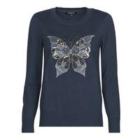 Oblačila Ženske Puloverji Desigual BUTTERFLY Modra