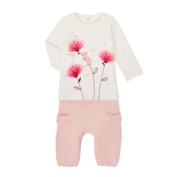 Oblačila Deklice Otroški kompleti Catimini CR36001-11 Bela / Rožnata