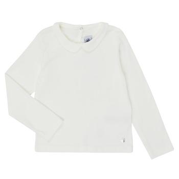 Oblačila Deklice Majice z dolgimi rokavi Petit Bateau LOVING Bela
