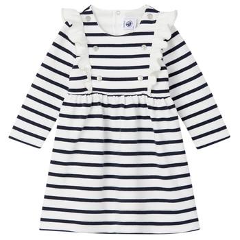 Oblačila Deklice Kratke obleke Petit Bateau LEVRIER Bela