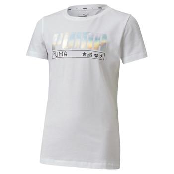 Oblačila Deklice Majice s kratkimi rokavi Puma ALPHA TEE Bela