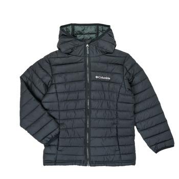 Oblačila Dečki Puhovke Columbia POWDER LITE HOODED JACKET Črna