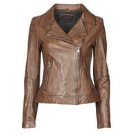 Oblačila Ženske Usnjene jakne & Sintetične jakne Oakwood FOLLOW Cognac