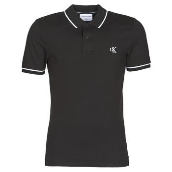 Oblačila Moški Polo majice kratki rokavi Calvin Klein Jeans TIPPING SLIM POLO Črna