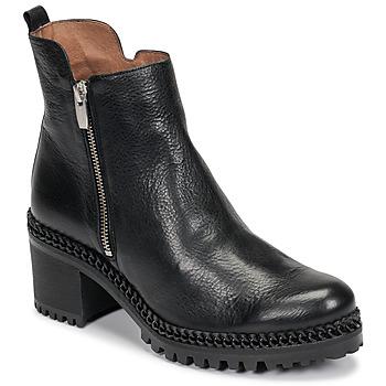 Čevlji  Ženske Gležnjarji Wonders H3924-VACHETA-NEGRO Črna